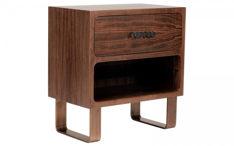 modernist nightstand bronze edition claro walnut