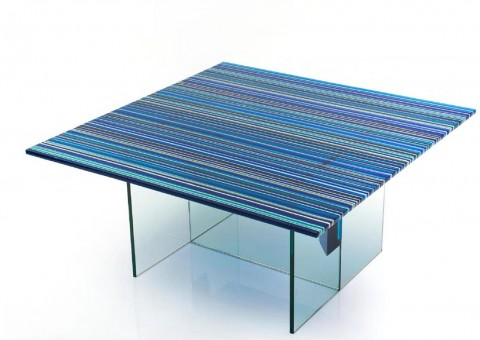 fused linear glass series coffee table