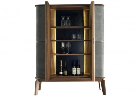 matthias walnut leather bar cabinet