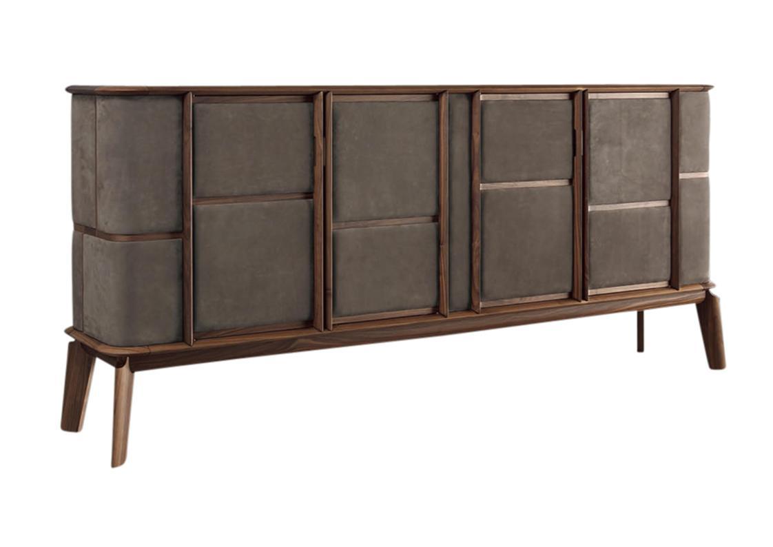Matthias Walnut Leather Sideboard Contemporary Luxury Furniture