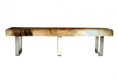 modernist cowhide bench