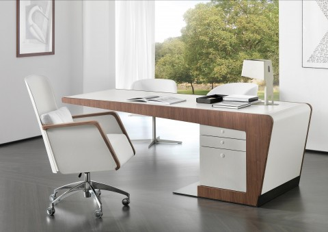 peonia desk walnut with cantilevered top