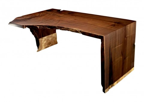 live-edge solid slab wood desk