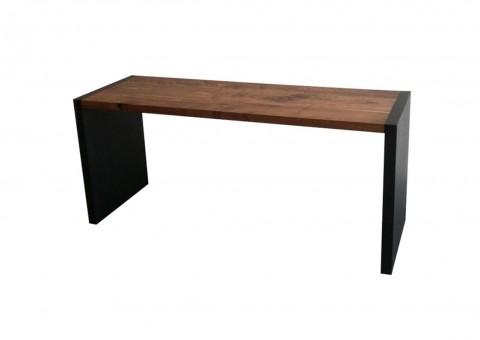 minimalist blackened steel solid walnut executive desk