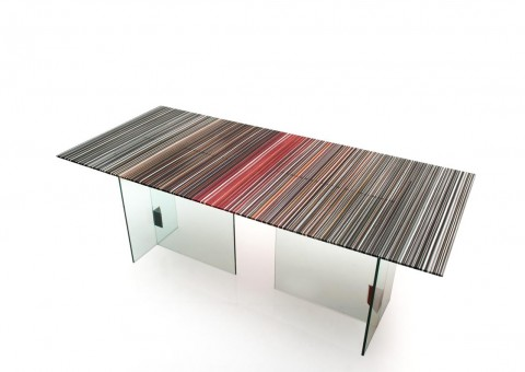 fused glass dining table by orfeo quagliata