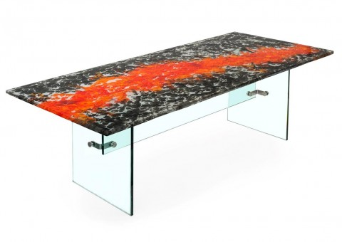 boiled glass dining table