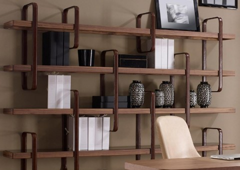 harmony leather accent shelving