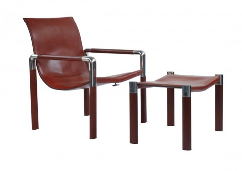 riva lounge chair with ipe wood saddle leather
