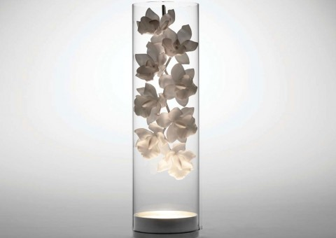 orchid cymbidium glass vase table lamp