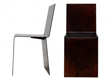bent steel dining chair by matthew metzger