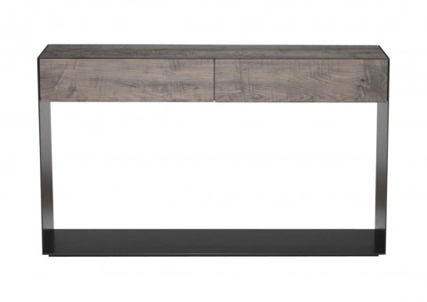 2 drawer blackened steel oxidized maple console