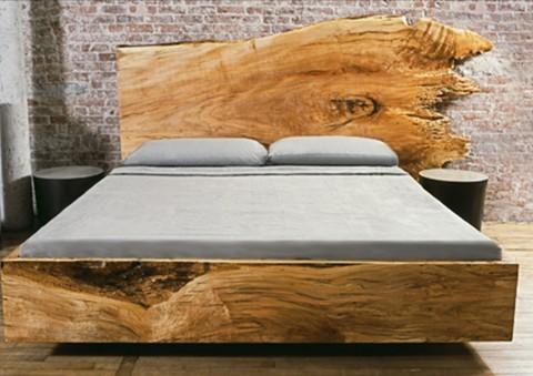 live-edge slabwood platform beds