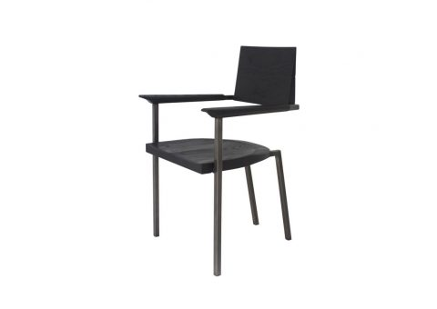 blackened steel dining chair