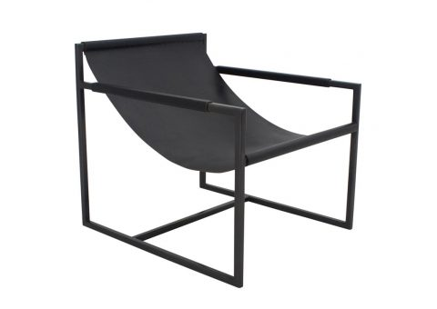 saddle leather sling lounge chair